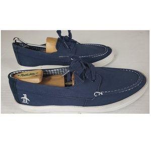 Original Penguin Blue Canvas Deck Shoes Size 11